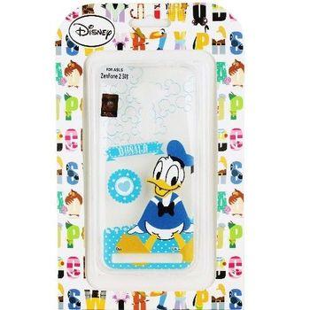 【Disney】Asus ZenFone 2 (ZE500CL) 5吋 Q版系列 彩繪透明保護軟套-唐老鴨