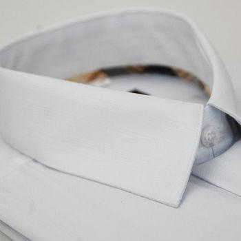 【金安德森】經典格紋繞領白色暗紋長袖襯衫