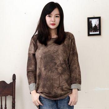 【Stoney.ax】 韓版雜染印色寬鬆長版造型上衣(共兩色)