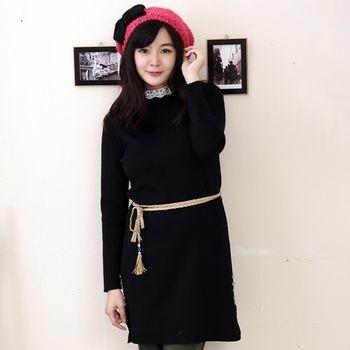 【Stoney.ax】 韓版針織蕾絲領立領造型長版洋裝(共四色)