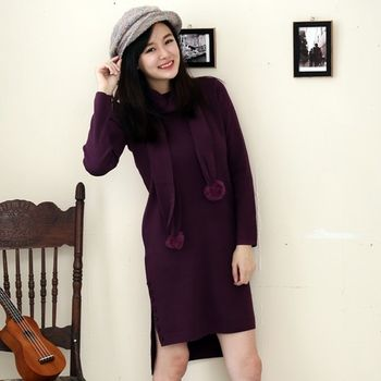 【STONEY.AX】韓版針織素面長版洋裝(附贈造型圍巾)(共三色)