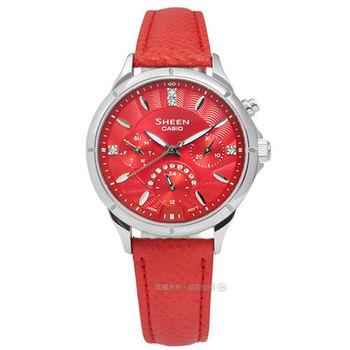 SHEEN CASIO / SHE-3047L-4A / 卡西歐亮紅雪白施華洛世奇水晶三環真皮腕錶 紅x銀框 34mm