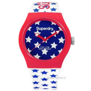 Superdry 極度乾燥 / SYL168RW / 經典美式風格矽膠腕錶 藍x紅框x白 38mm