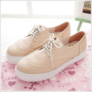 《DOOK》甜心粉色系 厚底牛津鞋休閒鞋-粉色