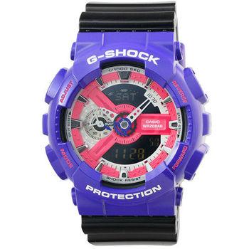 CASIO 卡西歐G-SHOCK 雙顯鬧鈴電子錶-紫 X 黑 / GA-110NC-6A