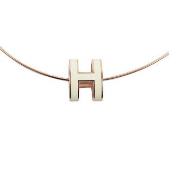 HERMES 時尚配件經典H LOGO橢圓銀飾項鍊.玫瑰金/白