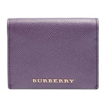 BURBERRY 金色LOGO小牛皮釦式萬用票卡/證件名片夾(淡灰紫)
