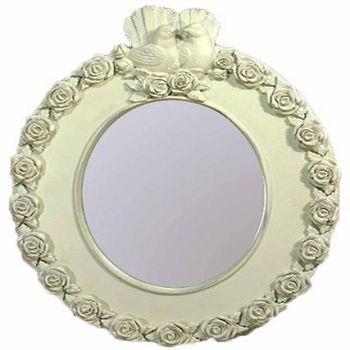 【協貿】古典情侶鴿子玫瑰花小裝飾壁掛公主鏡子