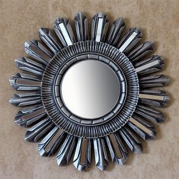 【協貿】復古做舊簡約圓形玻璃貼片太陽裝飾壁掛鏡子