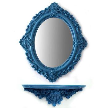 【協貿】復古做舊簡約公主橢圓裝飾壁掛鏡子帶置物架