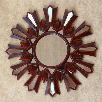【協貿】復古做舊古鄉村圓形玻璃貼片裝飾壁掛鏡子