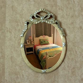 【協貿】復古做舊古樸典雅蝴蝶結橢圓裝飾壁掛鏡子