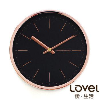 LOVEL 16cmDark knight玫瑰金鋁框靜音桌鐘/壁掛時鐘(736BK-RG)
