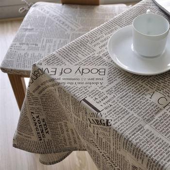 【協貿】時尚休閒復古雜貨報紙棉麻桌布