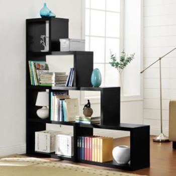 【咱的厝】L型多層展示櫃/書櫃/收納櫃/隔間櫃(黑色)