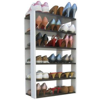 【Dr. DIY】六層開放式鞋架/鞋櫃/置物架(深胡桃木色+白色)