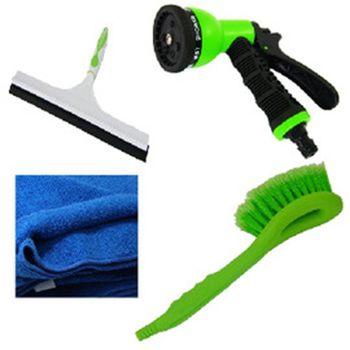 洗車用品組-B(7段水槍+洗車巾+洗車刷+12吋玻璃刮刀)