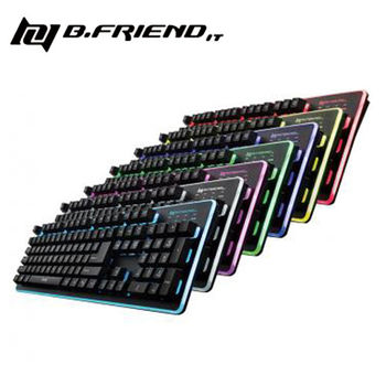 【B.Friend】GK3 發光有線遊戲鍵盤-七色背光 (黑/白)