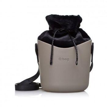 【O Bag】義大利品牌-O Basket 個性水桶包-岩石灰(黑絨毛內袋)