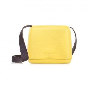 【O Bag】義大利品牌-O Pocket 仿皮背帶組(棕) - 亮黃