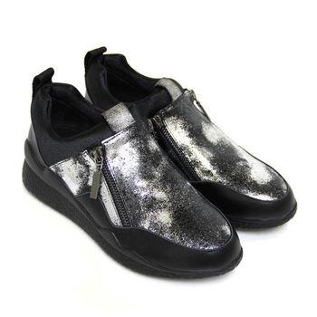 【BIS-VITAL】時尚衝擊金屬爆裂紋雙邊裝飾拉鍊套入式義大利小牛皮平底精品休閒鞋-黑色