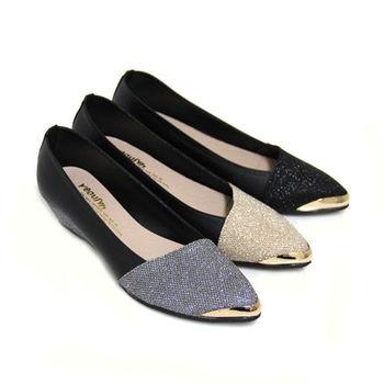 【Pretty】質感金蔥拼接金邊楔型尖頭包鞋-金色、灰色、黑色