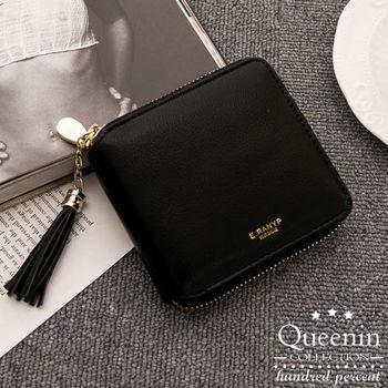 DF Queenin皮夾 - 韓版精品人氣款皮革拉鍊式短夾