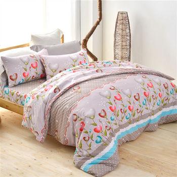 【美夢元素】飄渺花香 天鵝絨雙人加大四件式 全鋪棉兩用被床包組