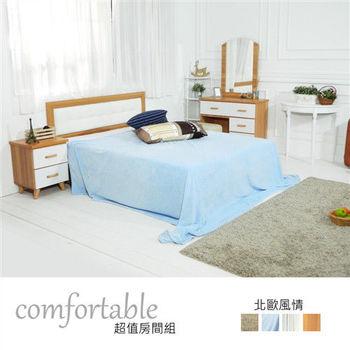 時尚屋 [WG5]貝絲北歐床片型3件房間組-床片+掀床+床頭櫃2個1WG5-1+501A+(3W*2)
