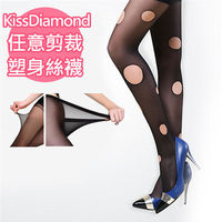 ~KissDiamond~12D任意剪加檔連褲防勾塑身絲襪 黑色