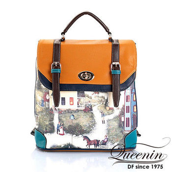 DF Queenin日韓 - 藝術文學系皮革式後背包