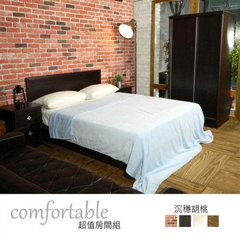 時尚屋 [WG5]絲特床片型4件房間組-床片+床底+床頭櫃+衣櫃1WG5-23W