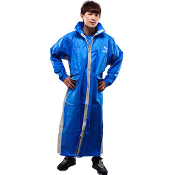 新二代 JUMP優帥前開式休閒風雨衣超大尺寸5XL-藍灰