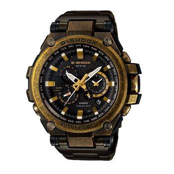 G-SHOCK 太陽能GPS昇華版無限伸展電波指針式霸氣腕錶-復古黑-MTG-G1000BS-1A