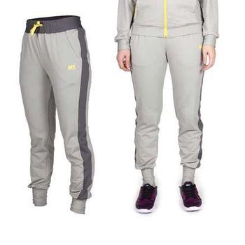 【MJ3】女彈性鬆緊腰帶附抽繩 薄刷毛束口休閒褲-休閒長褲 淺灰深灰黃