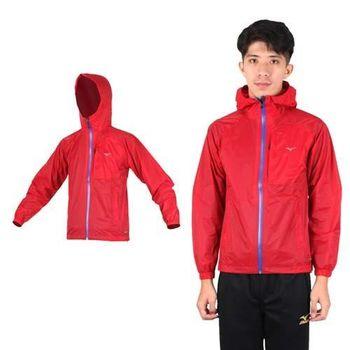 【MIZUNO】男風衣外套- 路跑 慢跑 運動外套 美津濃 防潑水 紅藍