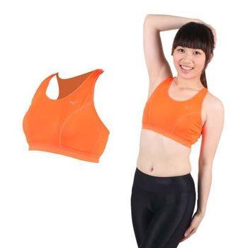 【MIZUNO】女吸濕排汗運動背心BRA-螢光橘