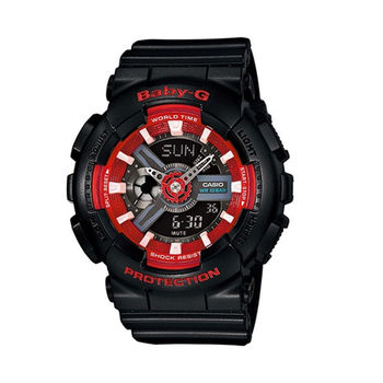 BABY-G 搶眼時尚新指標限量色系運動腕錶-黑+紅-BA-110SN-1A