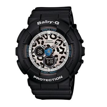 BABY-G 街頭豹紋迷蹤時尚運動限量腕錶-黑-BA-120LP-1A