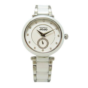 NATURALLY JOJO 晶鑽無敵時尚小秒針陶瓷女性優質腕錶-白-JO96892-80F