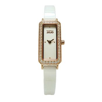 NATURALLY JOJO 世紀閃耀對決晶鑽時尚女性陶瓷腕錶-玫瑰金-JO96875-80R