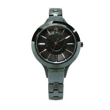 NATURALLY JOJO 綻放光芒新時代女性陶瓷優質腕錶-黑色-JO96850-88F