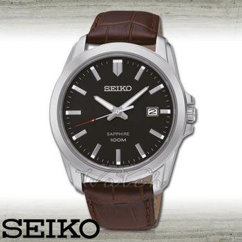 【SEIKO 精工】藍寶石水晶_皮革錶帶男錶_大鏡面4.1cm(SGEH49P2)