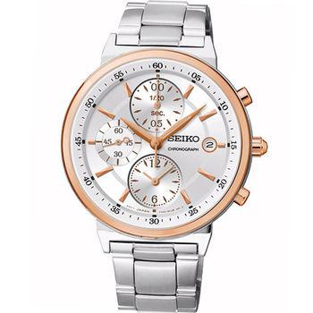 SEIKO 時尚混搭 計時腕錶 7T92-0RS0K SNDW48P1 銀白