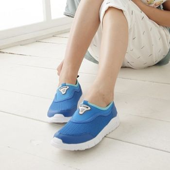《DOOK》裸腳透氣網布懶人鞋-藍色