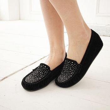 《DOOK》星空水鑽麂皮內增高平底鞋-黑色