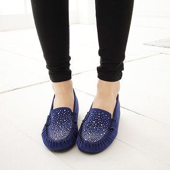 《DOOK》星空水鑽麂皮內增高平底鞋-深藍色