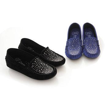 《DOOK》星空水鑽麂皮內增高平底鞋-兩色選