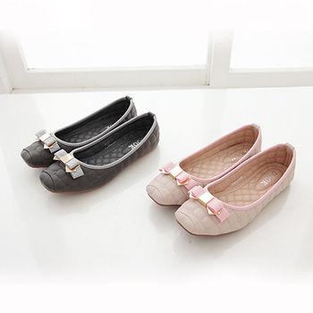 《DOOK》名媛菱格紋蝴蝶結方頭娃娃鞋-兩色選