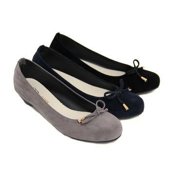 【Pretty】素面圓頭小蝴蝶結低跟娃娃包鞋-藍色、灰色、黑色